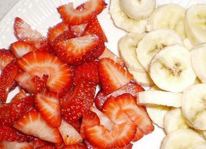 strawberry and banana for the smoothie
